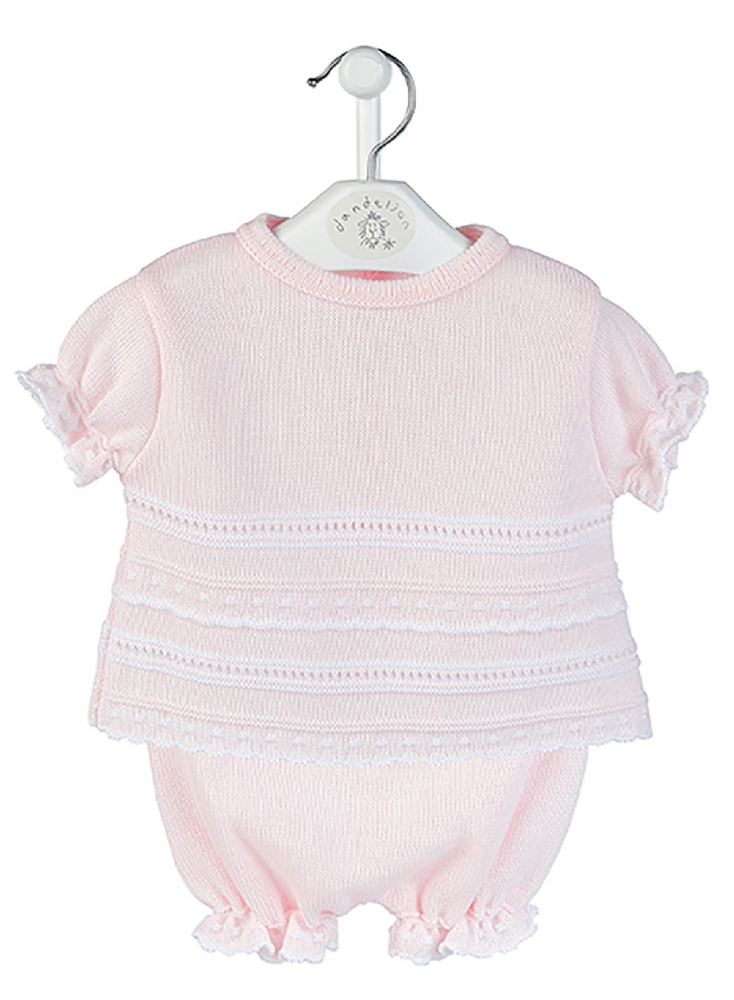 A2483 Pointelle knitted Top & Bloomer